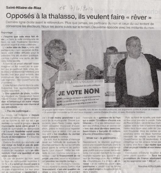 Ouest France du 7 octobre 2014