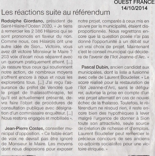 OUEST FRANCE 14/10/2014