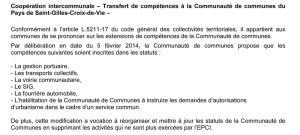 suite de la délibération, pages 1 et 2 de l'ordre du jour du conseil municipal